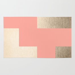 Simply Geometric White Gold Sands on Salmon Pink Rug