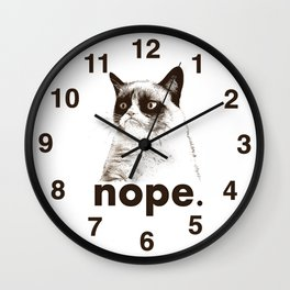 NOPE - Grumpy cat. Wall Clock