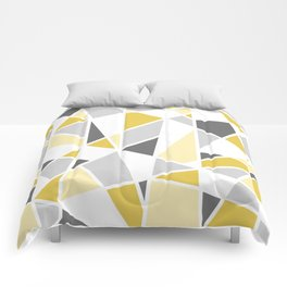 Geometric Pattern in yellow and gray Comforters