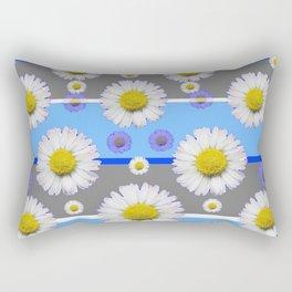 DECORATIVE BLUE MODERN ART WHITE SHASTA DAISIES Rectangular Pillow