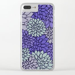 Periwinkle Gray Dahlias Clear iPhone Case