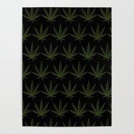 Weed Leaf Black Poster