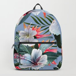 Hawaii, tropical hibiscus vintage style blue dream palm leaves Backpack