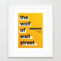 wolf of wall street Framed Art Prints featuring The Wolf of Wall Street by Darrenhealey