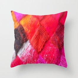 Red Entrelac Throw Pillow