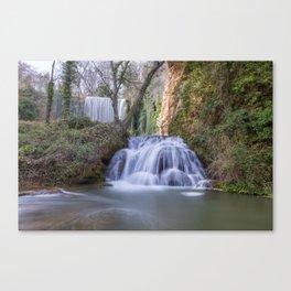 Waterfall Baño de Diana in the stone monastery, Spain Canvas Print