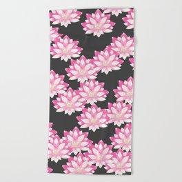 Lotus pattern on dark gray Beach Towel