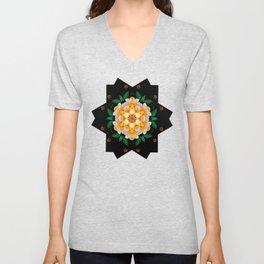 Yellow flower motif Unisex V-Neck