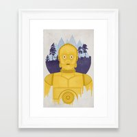 c3po Framed Art Prints featuring C3PO by Robert Scheribel