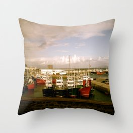 Boats Bobbing in the Blue of the Bay Throw Pillow