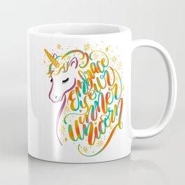 Embrace Your Inner Unicorn Hand Lettered Rainbow Design Coffee Mug