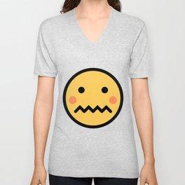 Smiley Face   A Bit Shamed Rosey Cheeks Expressionless Face Unisex V-Neck