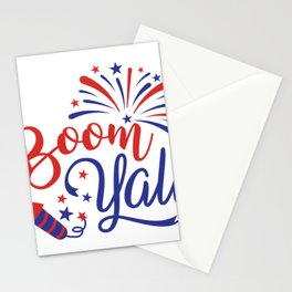 4th of July Fireworks Boom Yall Fourth of July Stationery Cards