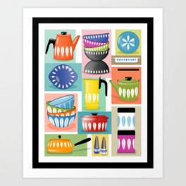 Colorful Cathrineholm Kitchen Geometric Print Art Print