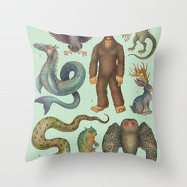 Cryptids of the Americas Throw Pillow
