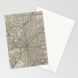 Vintage Map of Indianapolis Indiana (1921) Stationery Cards