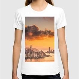 sunset over hong kong urban city skyline with victoria harbor T-shirt