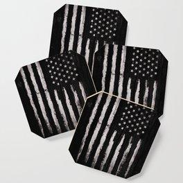 White Grunge American flag Coaster