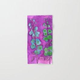 Hollyhock Foxglove Watercolor on Fuchsia Magenta Hand & Bath Towel