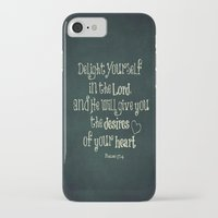 bible verse iPhone & iPod Cases featuring Delight in the Lord Bible Verse with Chalkboard Background by Quote Life Shop