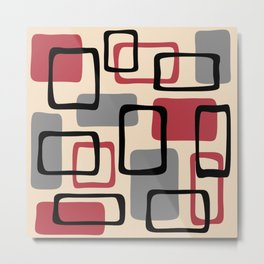 Mid Century Modern Abstract Squares Pattern 424 Metal Print