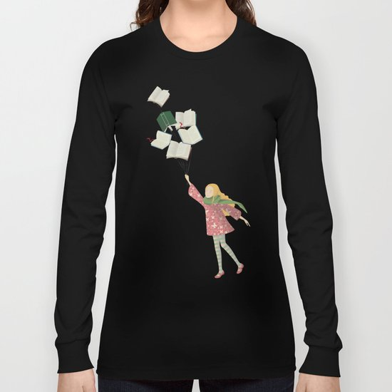 Girl with books Long Sleeve T-shirt