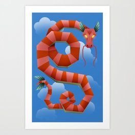 Sky swimmer dragon Art Print