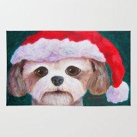 shih tzu Area & Throw Rugs featuring Christmas Shih Tzu By Annie Zeno by Annie Zeno