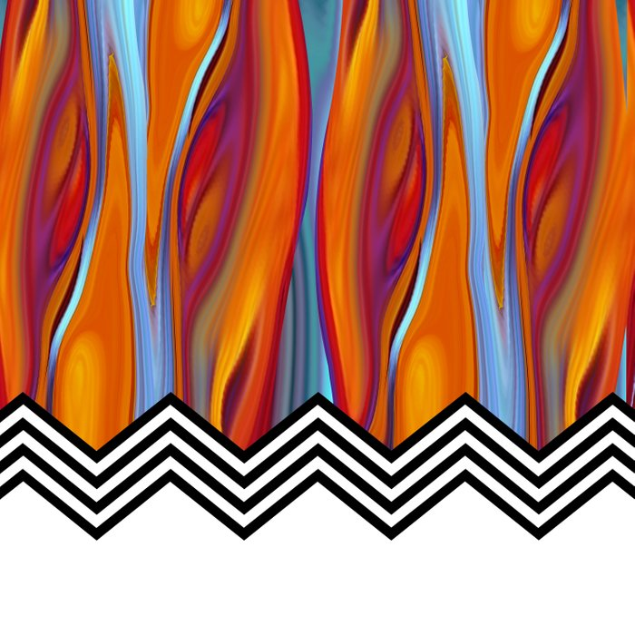CHEVRON FLAME | fiery orange blue Comforters