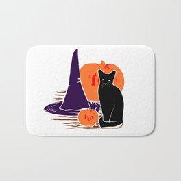 Witch Cat Pumpkin Woodcut Halloween Design Bath Mat