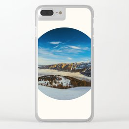 Mid Century Modern Round Circle Photo Rolling Snow Hills Distant Mountains Clear iPhone Case