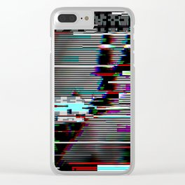 Glitch psychedelic illustratio old TV Clear iPhone Case