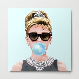 Audrey Hepburn Chewing Bubble Gum - 4 Metal Print