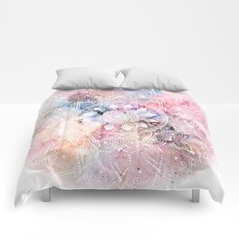 Whimsical white watercolor mandala design Comforters
