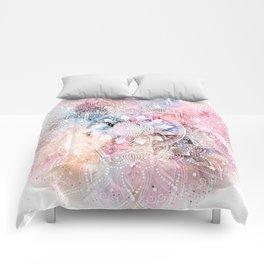 Whimsical white watercolor mandala design Comforters