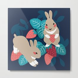 Strawberry Bunny Metal Print