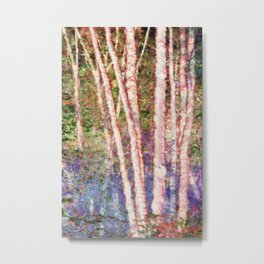 Pastel Birch Trees by a Forest Stream Metal Print