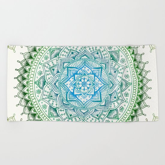 Forest Colours Flower Mandala Beach Towel