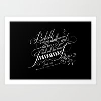 bible verses Art Prints featuring Typographic Motivational Bible Verses - Isaiah 7:14 by The Wooden Tree
