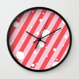 Candy Cane Snow Pink and Red Wall Clock