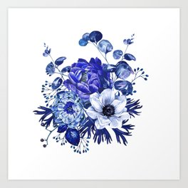 China Blue Porcelain, Asia, Peony, Flower, Floral, Cyan Art Print
