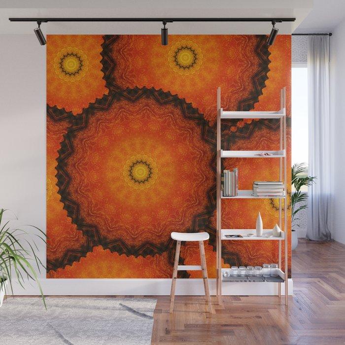 Velvet Sunflowers Motif -- Vibrant Autumn Hues Wall Mural