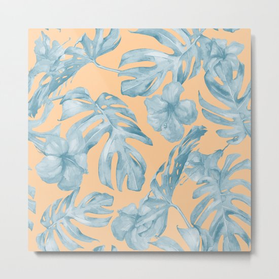 Island Sunrise Hibiscus Palm Orange Ocean Blue Metal Print
