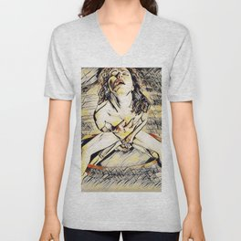 6170s-KD Mirror Reflections Erotic Art in the style of Wassily Kandinsky Unisex V-Neck