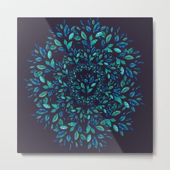 Blue Leaves Mandala Metal Print