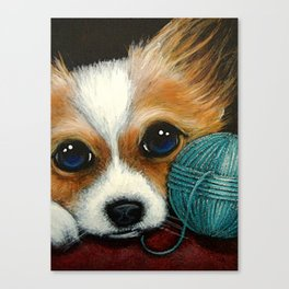 PAPILLON PUPPY DOG with WOOL BALL Canvas Print
