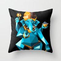 ganesha Throw Pillows featuring Ganesha by Gaetano Leonardi