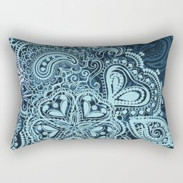 Indian boho pattern with ornament in blue Rectangular Pillow