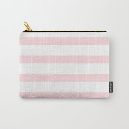Pastel Pink Stripes on White Background Carry-All Pouch