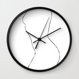 Nude Minimal Drawing Illustration Wall Clock